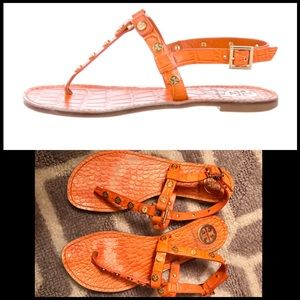 Tory Burch Embossed Crocodile Sandals